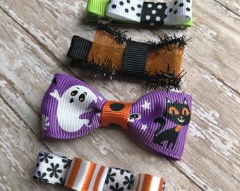 hair clips, halloween hair clips, halloween baby hair clips, toddler hair clips, tuxedo bows, halloween colors, non slip baby hair clips