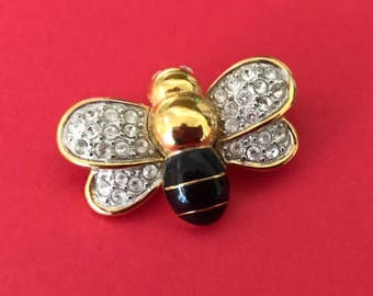 Lovely Cz and Enamel Bee Pin