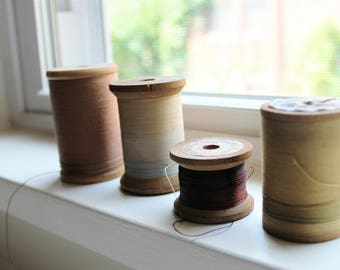 Vintage spools of thread, large wooden spools, cortcelli, meyer. twist deluxe