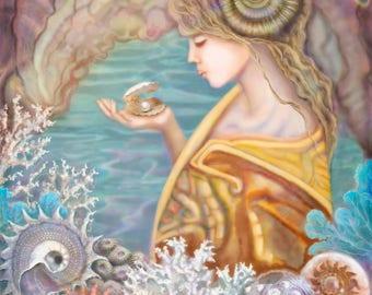Sea Treasures...Original Painting, Archival Print, Decor, Woman, Shells, Sea Shell Treasures