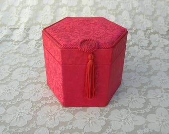 SUMMER SALE Red Chinese Hexagon Silk Box, braided edge & tassel, red silk lining, storage box for treasures/keepsakes/souvenirs/photos, etc.