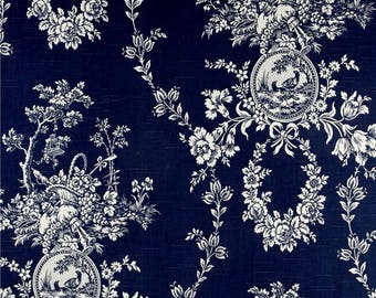 Toile Pillow French Country Toile Pillow Waverly Floral Navy Waverly Country House Toile Indigo Blue BOTH SIDES
