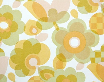 Retro Wallpaper by the Yard 70s Vintage Wallpaper - 1970s Yellow and Checkered Flowers on White