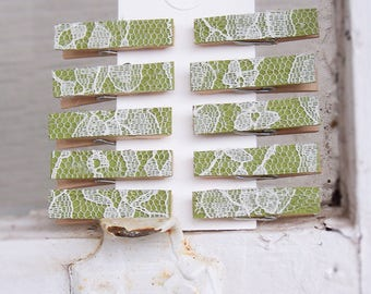 10 Small Lace Clothespins, Clothespins -Pegs -DIY Wedding Accessory -Shabby Chic -Escort Card Holders -Country Wedding - NEW