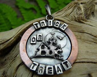 Halloween Pendant, Scary Jewelry, Halloween Jewelry, Copper Jewelry, Halloween Gift, Silver Jewelry, Happy Halloween, Circle Pendant