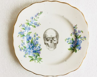 Skull Cake Square Tea Plate Blue Flowers Pattern White Gold Vintage China Made in England Wedding Anniversary Gift Wall Art Collage