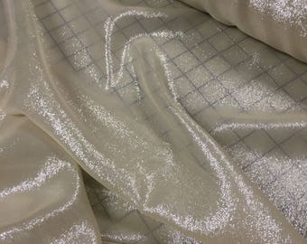 Shimmery silver Metallic Chiffon- Ivory silver color