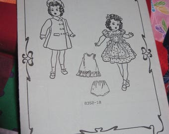 """Vintage SHIRLEY TEMPLE 18"""" Doll Pattern #8352-18 Dress,Panties,Slip & more...Fashions to Fit..Reproduction....Never Used...#157"""