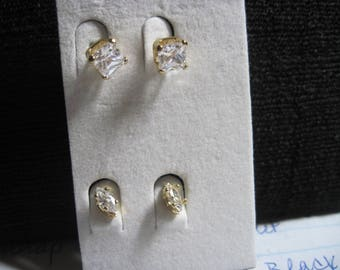 Vintage GORGEOUS 2 Prs. of Faceted Crystal Stud Earrings...NEVER WORN....JMF14
