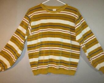 Vintage Munsingwear, Velour Knit, Pullover Shirt //Gold and Ivory Stripe, Cotton Knit Cuffs