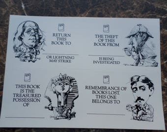Vintage Bookplates, Set of 40 Bookplates, Personalized Books