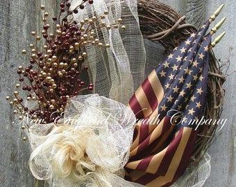 ON SALE Americana Wreath, Patriotic Wreath, Fourth of July Wreath, Memorial Day Wreath, Elegant Patriotic Wreath, Tea Stained Flag Wreath