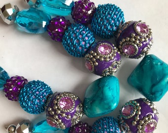"""Turqouise and Purple Acrylic Beads 11 Beads 1/4"""" to 3/4"""""""