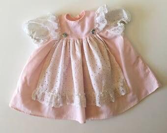 1980's Pink & Eyelet Lace Flutter Dress (6 months)