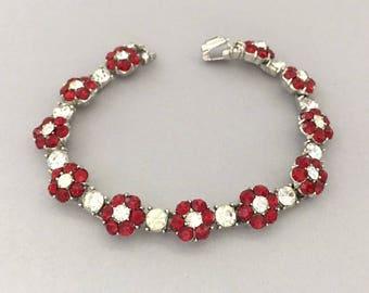 Summer Jewelry Red Flower Bracelet - Trifari Rhinestone Bracelet - Red Rhinestone Bracelet - Vintage Trifari Floral Bracelet - Gift for Mom