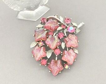 Summer Jewelry Rhinestone Brooch Mom Brooch Gift - Pink Rhinestone Lisner Brooch - Vintage Lisner Pink Rhinestone Pin - Glass Leaves Brooch