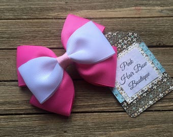 Pink and white hair bow , 4 inch hair bow , pink and white hair clip , summer hair bow , hair bows for girls