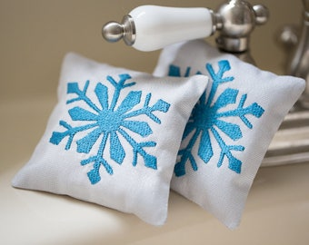 Sachets Lavender Pillow Handmade Set of Two Sachets Lavender Embroidered Linen Cushions Air Freshener Embroidered Scented Sachet SNOWFLAKES
