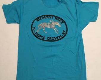 Vintage Belmont Park 1987 Triple Crown T-Shirt