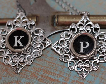 Choice Typewriter Key Necklace-Choice Typewriter Letter A B C D E F G H I J K L M N P Q R S T U V W Y Z-Black Glass Typewriter Key Necklace