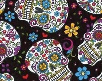 Sugar skulls fabric Day of the Dead