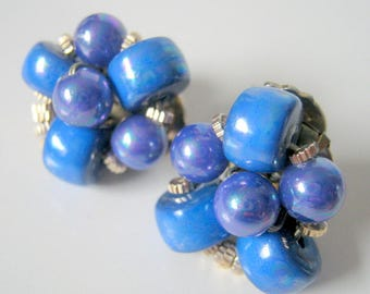 Clip On Earrings, Vintage Blue Beaded Cluster Clip On Earrings, Fashion Jewelry, Gift For Her