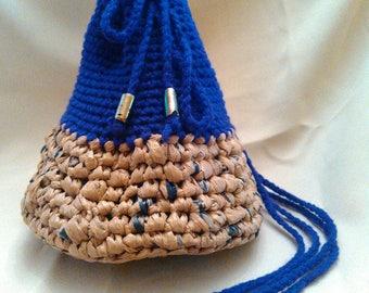 Crochet Plarn Drawstring Bag