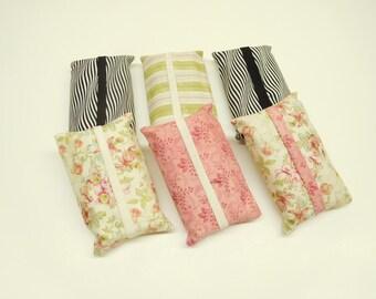 set of 6 tissue holders, multi color, tissue covers assortment, stocking stuffer, small christmas gift, gift under 10, pocket tissue holder