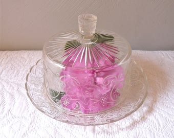 french Butter Dish or Cake Stand - french antique Butter Dish  - French Butter - French  french vintage butter - Pressed Glass