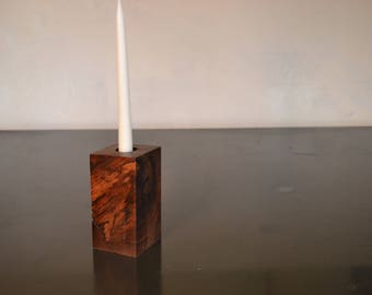 Pillar of Oregon figured black walnut to hold taper candle