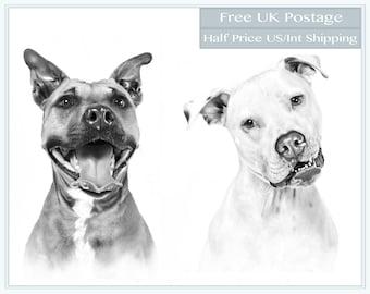 Two Dog Custom Pet Portrait - Dogs Portrait Sketch From Photo -  Dog Portrait Sketch - Dog Art - 8 x 10 High Quality Print FREE UK POSTAGE