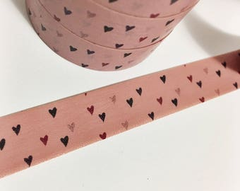 Dark Dusty Rose Washi With Teeny Tiny Black Burgundy and Pink Hearts Washi Tape 5.5 yards 5 meters 15mm