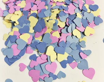 Adorable Heart Confetti in Yellow Pinkish Purple Light Blue and Blue over 1000 hearts Wedding Decor Table Decorations Tiny Heart Confetti