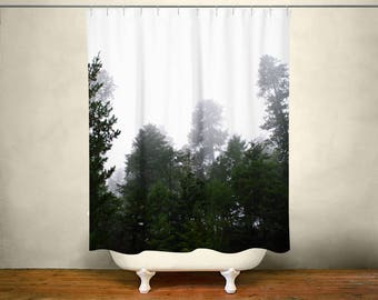 Lost Forest, Pine Trees Shower Curtain, Scenic Nature Decor, Landscape Photo Shower Curtain, Foggy Forest, Nature Bathroom