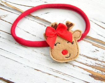 Baby Christmas Headband -  Christmas Reindeer Headband - Christmas Headband - Girls Christmas Headband - Reindeer Headband