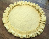 Set of 4 Choose Your Color Round Burlap Placemats with Ruffles Bridal Shower Table Settings Baby Shower Decor Shabby Chic Placemats