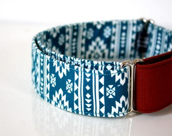 Southwestern BOHO Martingale Dog Collar -  brick‐red solid - Silver