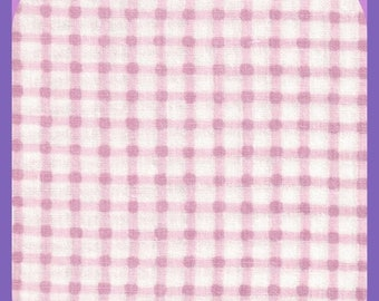 ON SALE All Cotton GINGHAM Pink & White Fabric Remnant 1 Yard 44 Inch wide