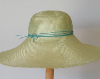 Elegant wide brim summer hat, light green straw hat for a special event, sun protection hat made in Israel