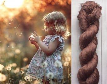 Mulberry silk 100%,handdyed yarn, hand painted. Nutmeg. 100g.