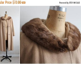 40%OFF / 60s Rich's Camel Coat / Cashmere Mink Collar Coat / Fur Collar Coat /Camel Swing Coat/ 1960 Coat/  60s Winter Coat