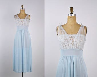 60s Baby Blue Nightgown Slip Dress / Full Slip / Wedding Slip/ Lace Lingerie/ Pin up / Bridal / 50s /Vintage Nightgown / Boudoir/ Size S/M
