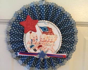 Independent Day party decoration, 4 th of July, Desert  table prop, red, white, and blue party, Rosette decoration, Handmade party goods,