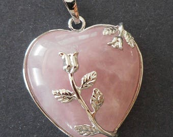 Heart pendant-Natural pink Rose Quartz  gemstone Pendant w/ silver bail