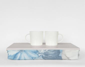 Serving tray with comfortable pillow, Stable table, iPad stand- light grey with pastel blue watercolor flower print Pillow