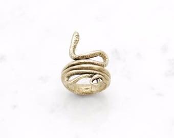Snake Coil ring - brass