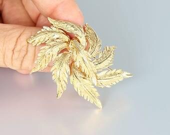 14K gold Brooch. Seaweed Leaf Brooch, 1950s vintage Fine jewelry, F&F Felger