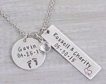 Personalized Hand Stamped Necklace - Mommy Necklace - Personalized Family Necklace - Mothers Necklace - Custom Necklace - Gift for Her
