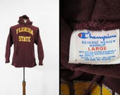 Vintage Florida State Champion Hoodie Reverse Weave Red Sweatshirt Made in USA - Large