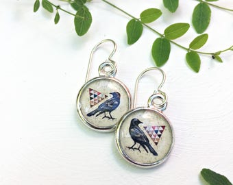 Crow Earrings with a geometric triangle piece of a quilt, Raven, Bird Jewelry
